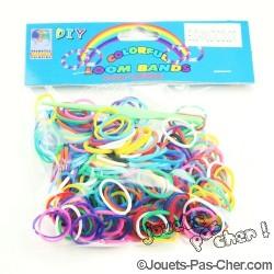 Sachet de 200 élastiques Loom Bands Multicolor + Attaches