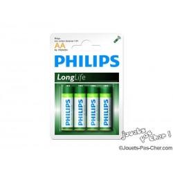 Lot de 4 Piles Philips LongLife AA / LR06