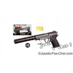 Pistolet à Billes 18cm + Silencieux